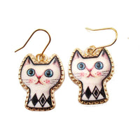 White Kitty Cat with Geometric Print Cartoon Shaped Dangle Earrings