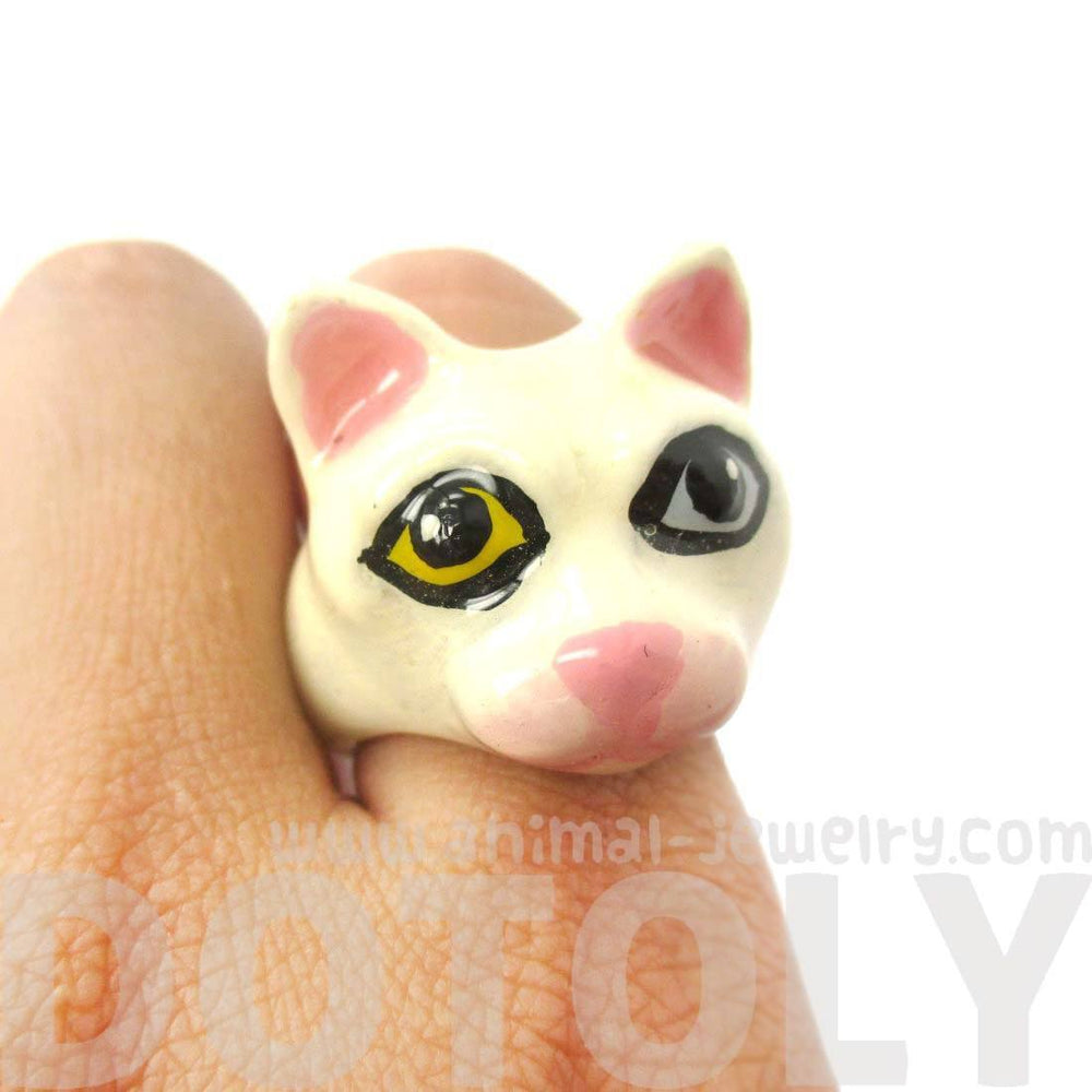 White Kitty Cat With Multi Color Eyes Shaped Animal Ring for Women