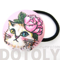 white-kitty-cat-with-pink-roses-button-hair-tie-pony-tail-holder