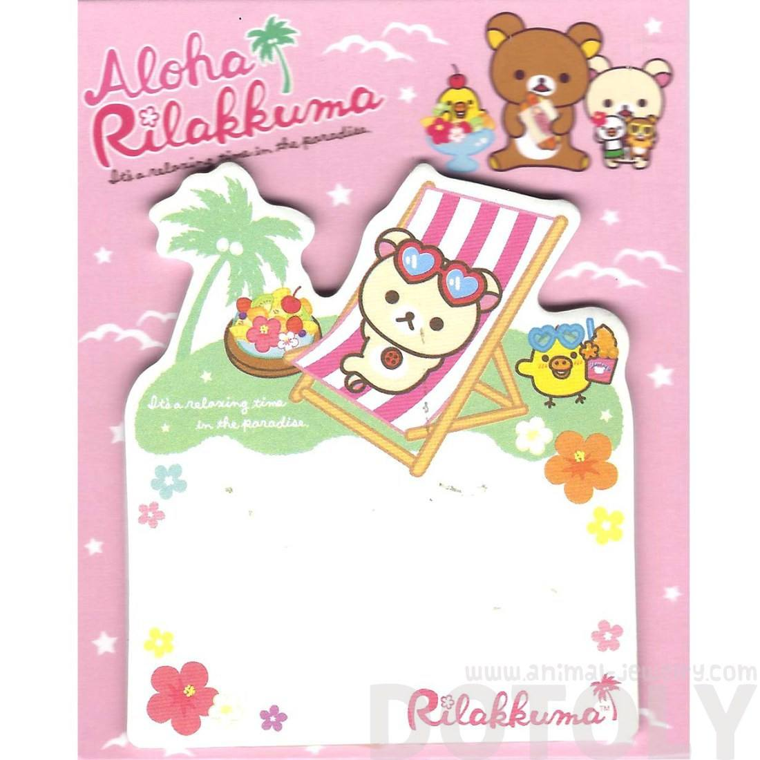 White Teddy Bear on a Beach Chair Shaped Adhesive Post-it Memo Pads
