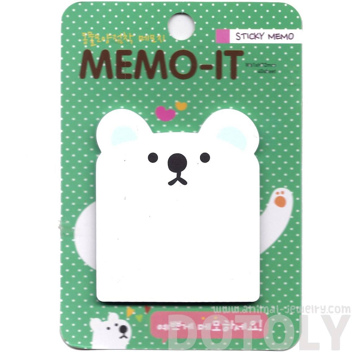 White Polar Bear Shaped Animal Themed Memo Sticky Post-it Note Pad