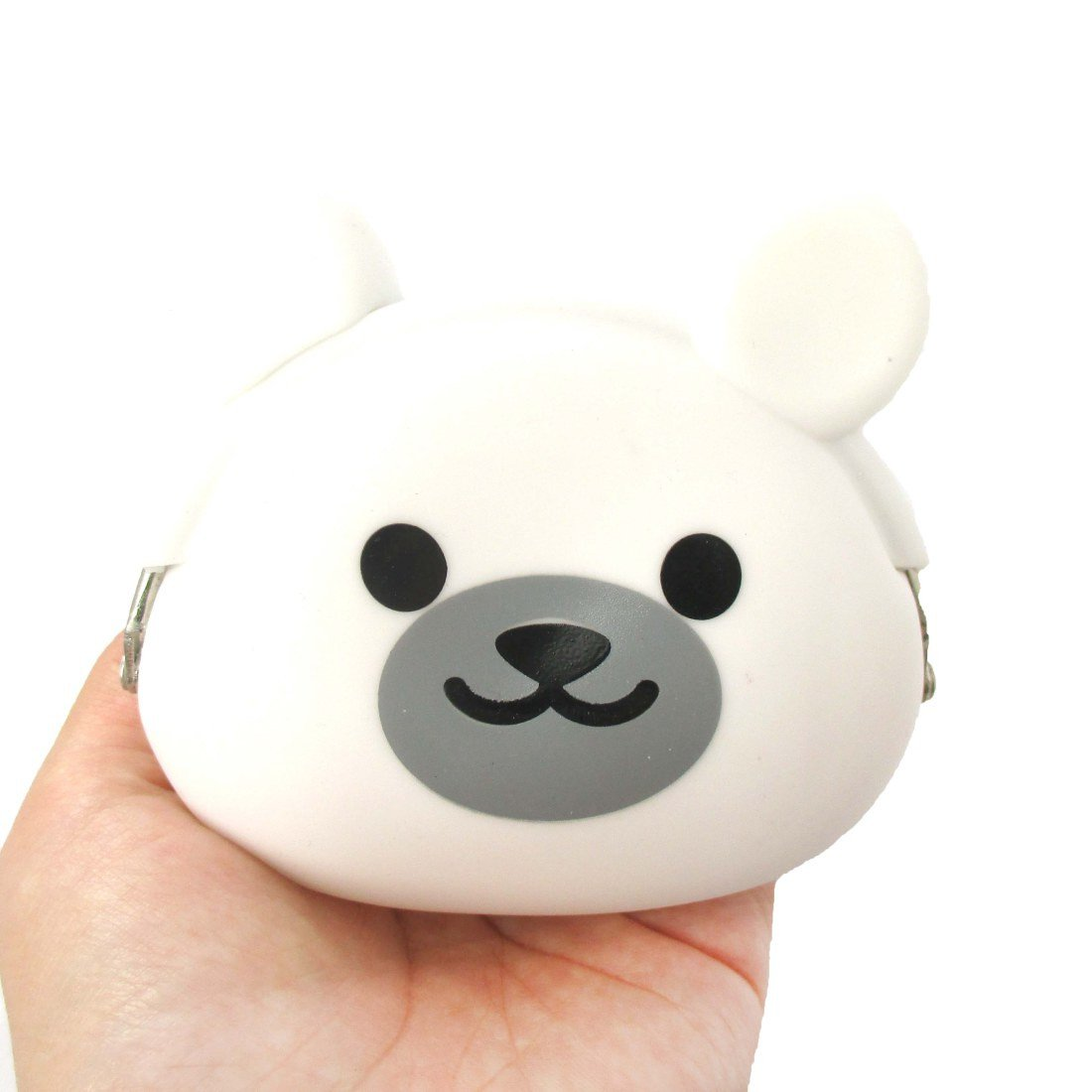 White Polar Bear Shaped Animal Friends Silicone Clasp Coin Purse Pouch