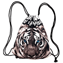 White Snow Tiger Face Print Drawstring Cinch Backpack Bag for Women