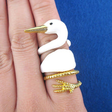White Swan Shaped Three Piece Stackable Animal Ring| Animal Jewelry
