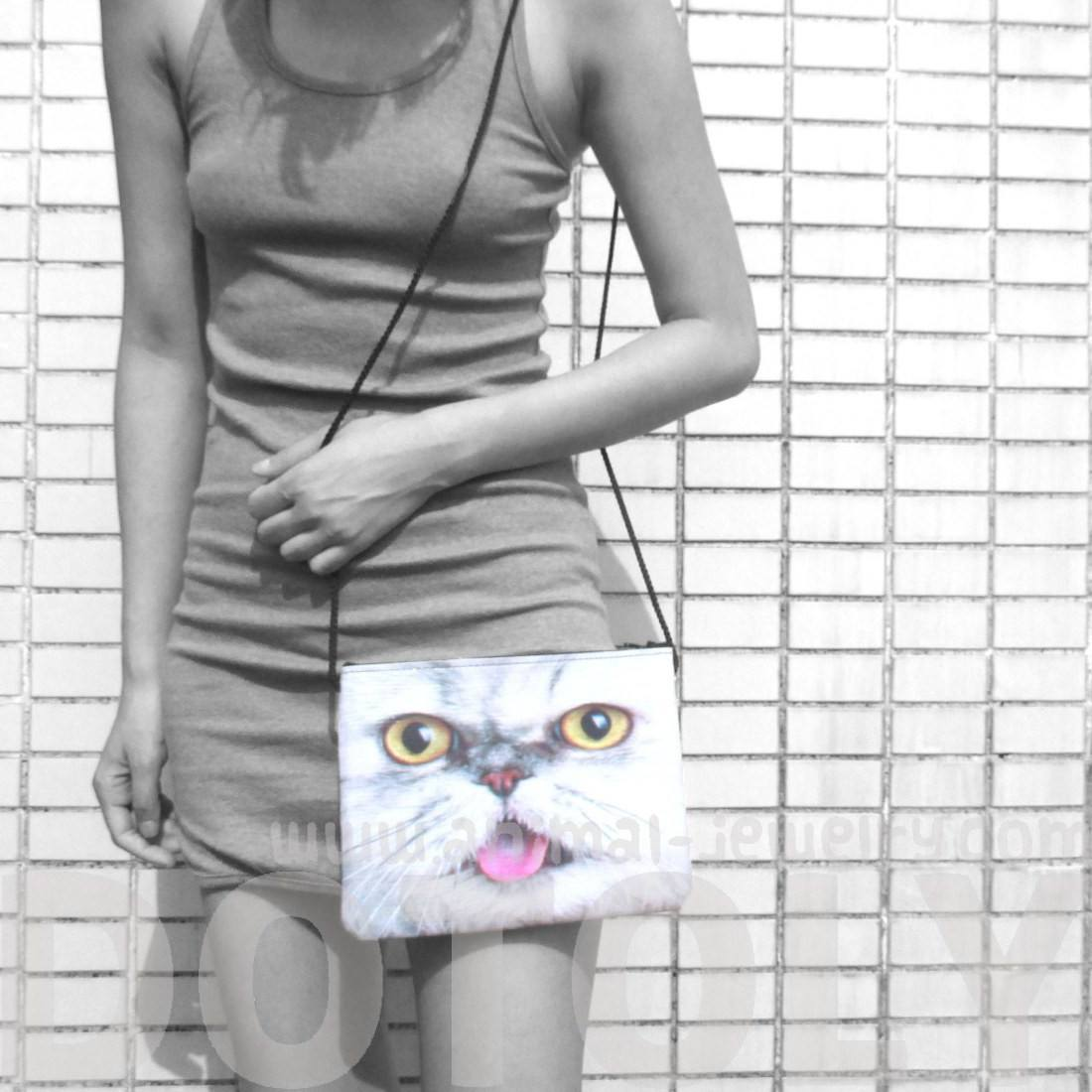 White Tabby Kitty Cat With Tongue Sticking Out Shaped Cross Body Bag