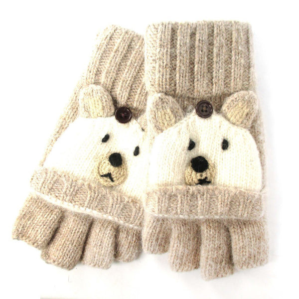 White Teddy Bear Animal Themed Wool Fingerless Popover Mitten Gloves