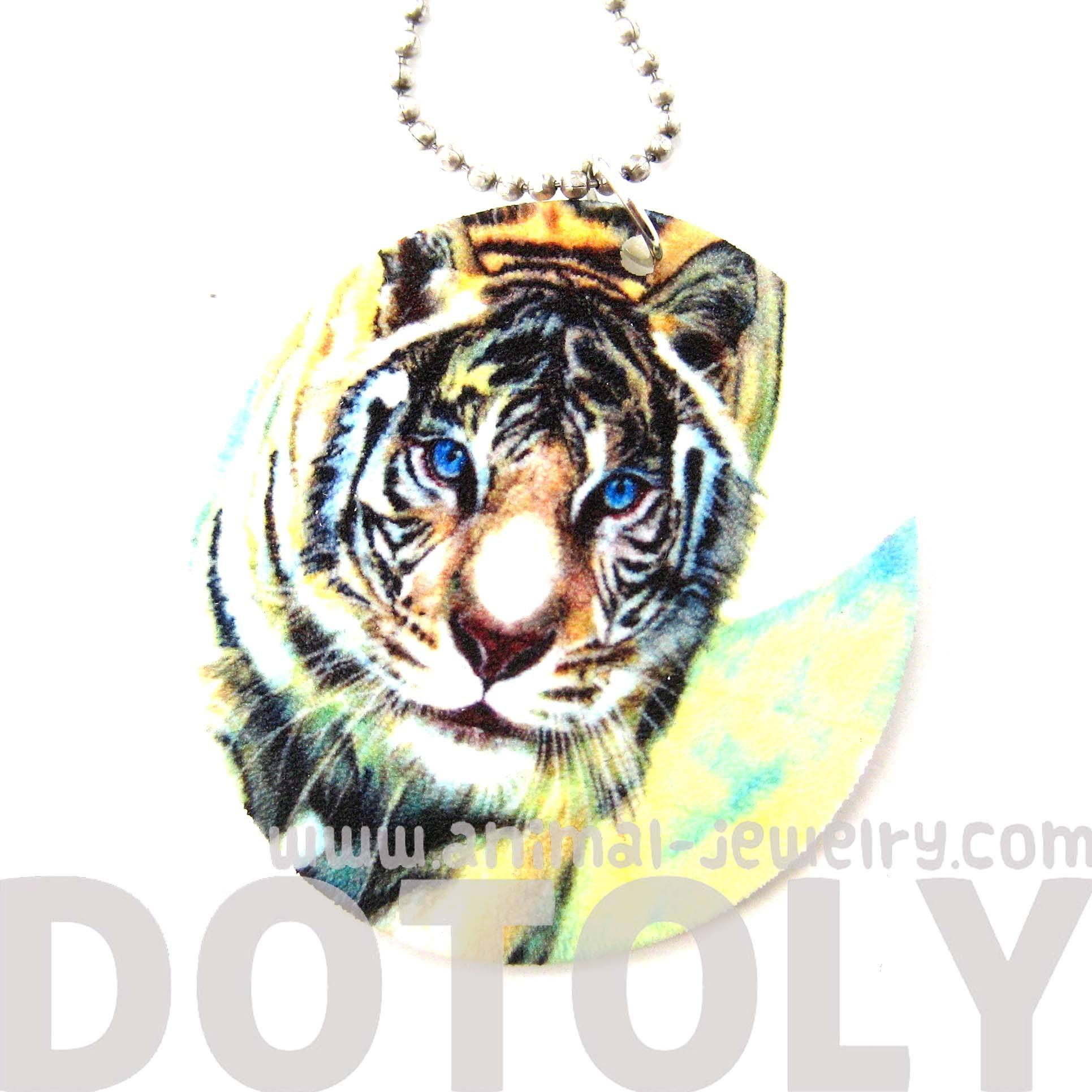 white-tiger-illustrated-animal-pendant-necklace-handmade-shrink-plastic