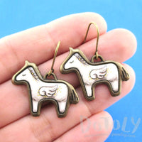White Unicorn with Wings Shaped Illustrated Earrings