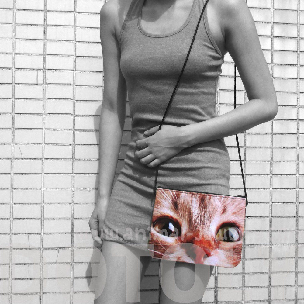 Wide Eyed Kitty Cat Face Print Rectangular Shaped Cross Body Bag | Gifts for Cat Lovers | DOTOLY