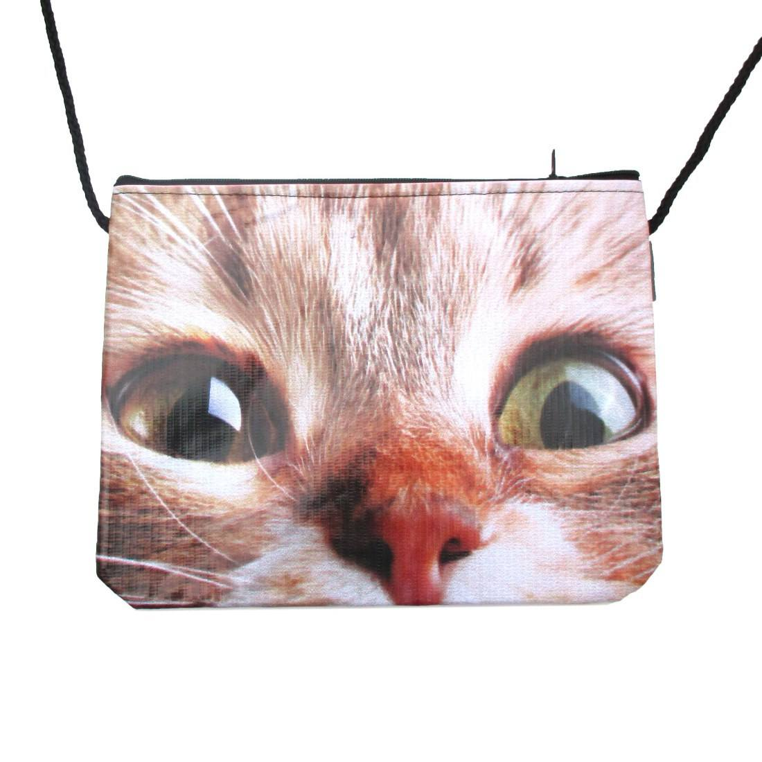 Wide Eyed Kitty Cat Face Print Cross Body Bag | Gifts for Cat Lovers