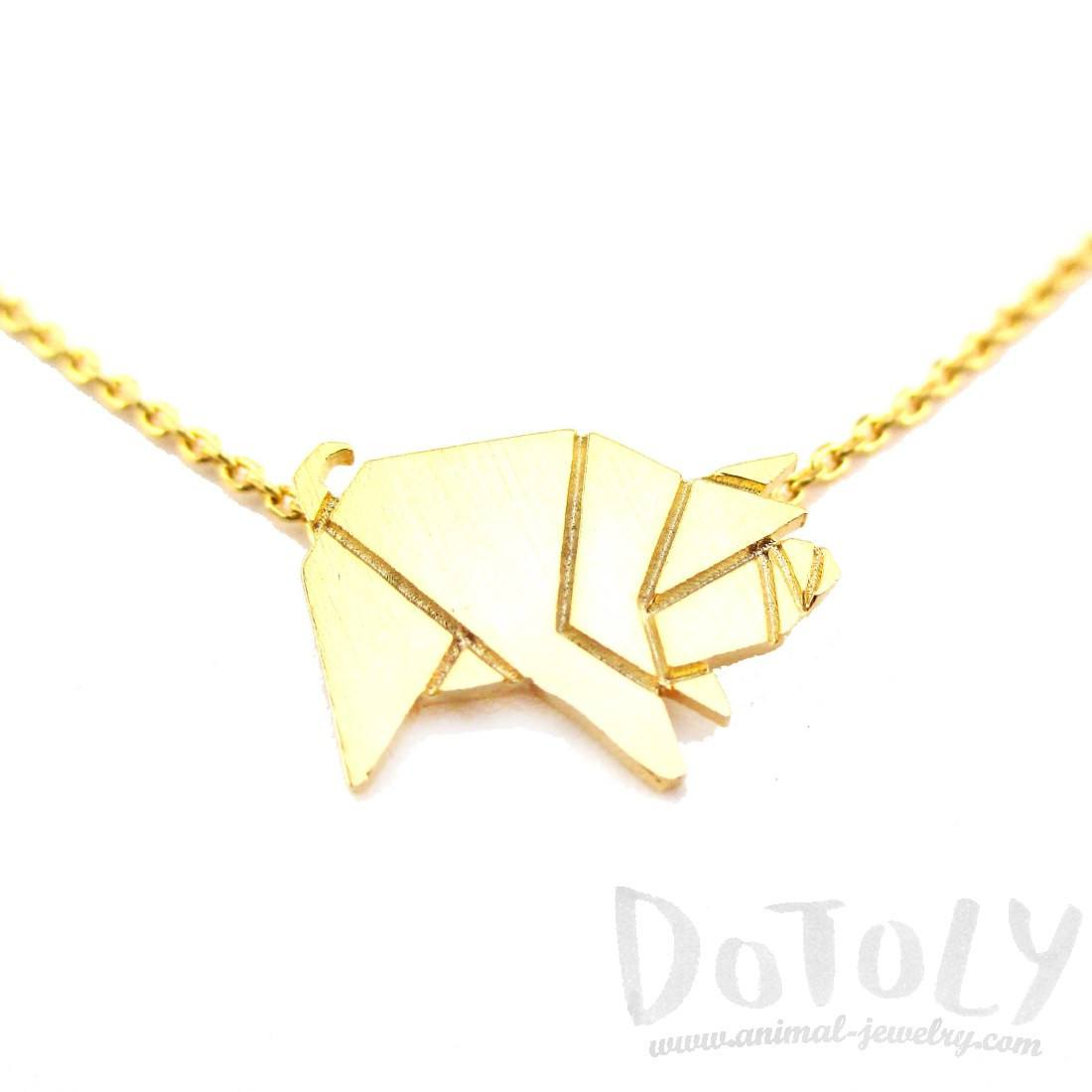 Wild Boar Pig Shaped Origami Pendant Necklace in Gold | Animal Jewelry