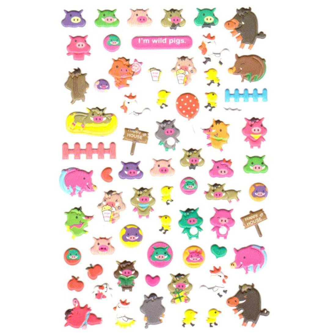 Wild Boar Piggy Piglets Themed Puffy Stickers for Kids
