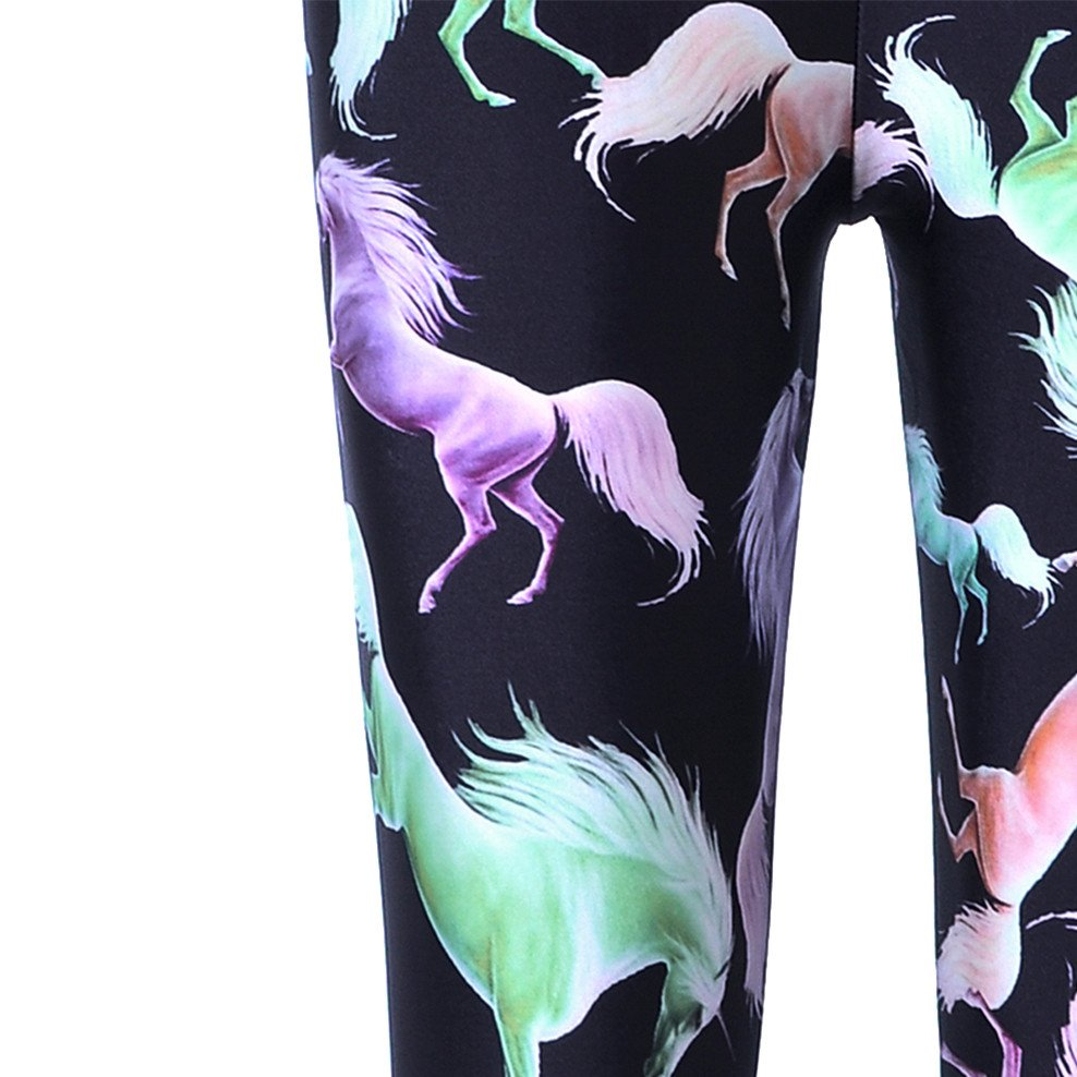 Wild Horses Digital Print Comfy Stretch Leggings for Women in Black