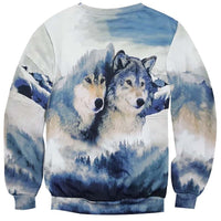 Wild Wolves in a Snowy Forest All Over Print Pullover Sweatshirt