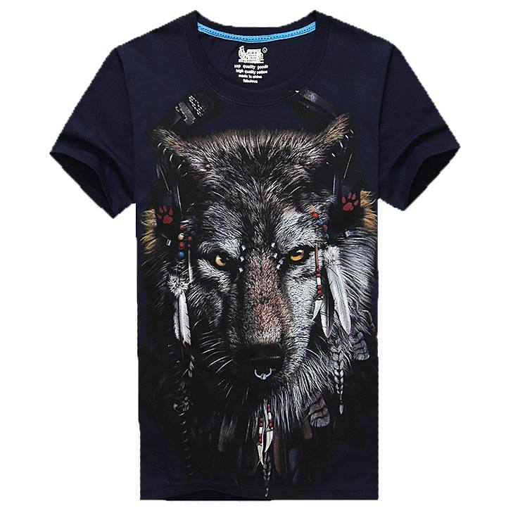 Navy Wolf Face With Tribal Headdress Print Graphic Tee