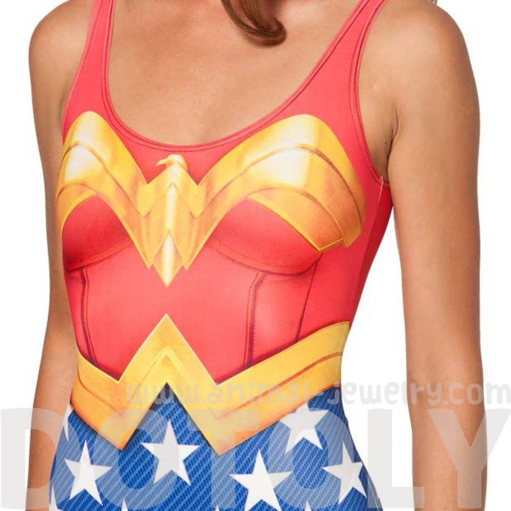 Wonder Woman Digital Print Scoop Neck Sleeveless Bodysuit | DC Comics