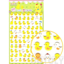 Yellow Duck Bird Shaped Animal Themed Puffy Sticker Seals for Kids