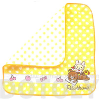 Yellow Polka Dotted Embroidered Rilakkuma Bear Handkerchief Face Towel