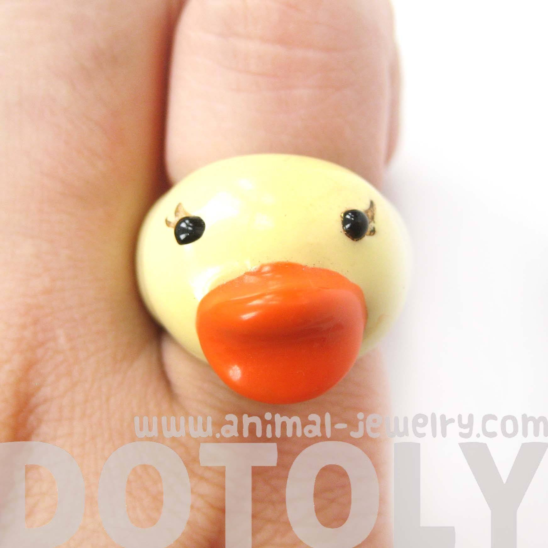 yellow-rubber-ducky-bird-shaped-enamel-animal-ring-in-us-size-6-5-limited-edition