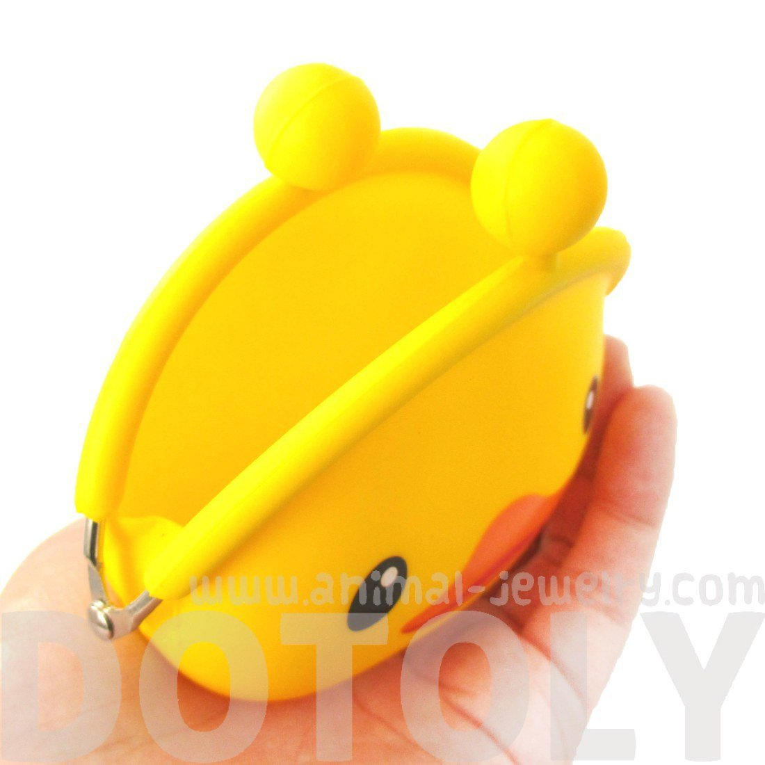 Yellow Rubber Duck Shaped Animal Friends Silicone Clasp Coin Purse