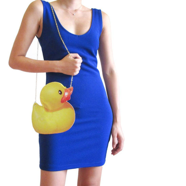 Yellow Rubber Ducky Shaped Vinyl Animal Cross Body Bag