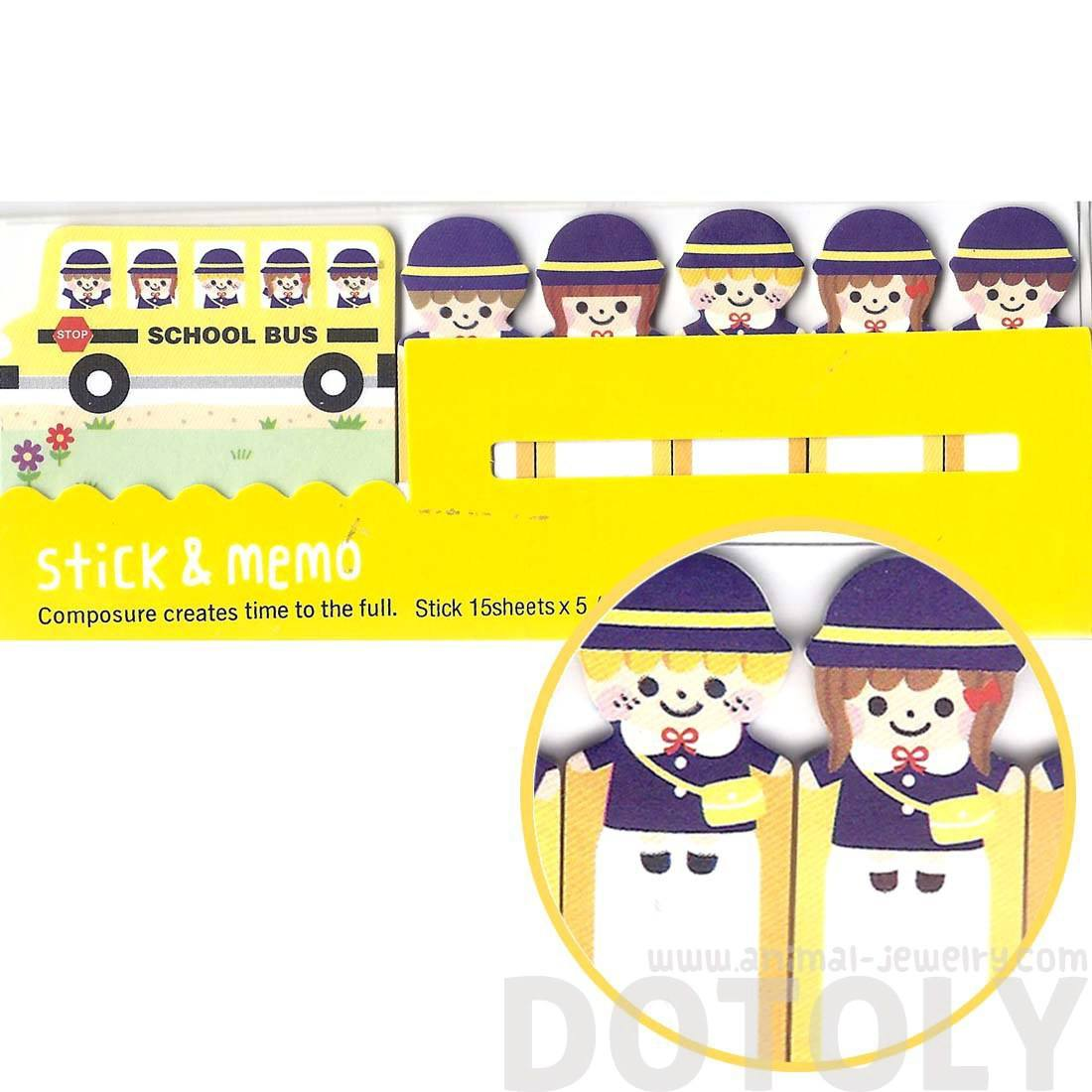 Yellow School Bus and People Shaped Cute Sticky Memo Post-it Index Tab