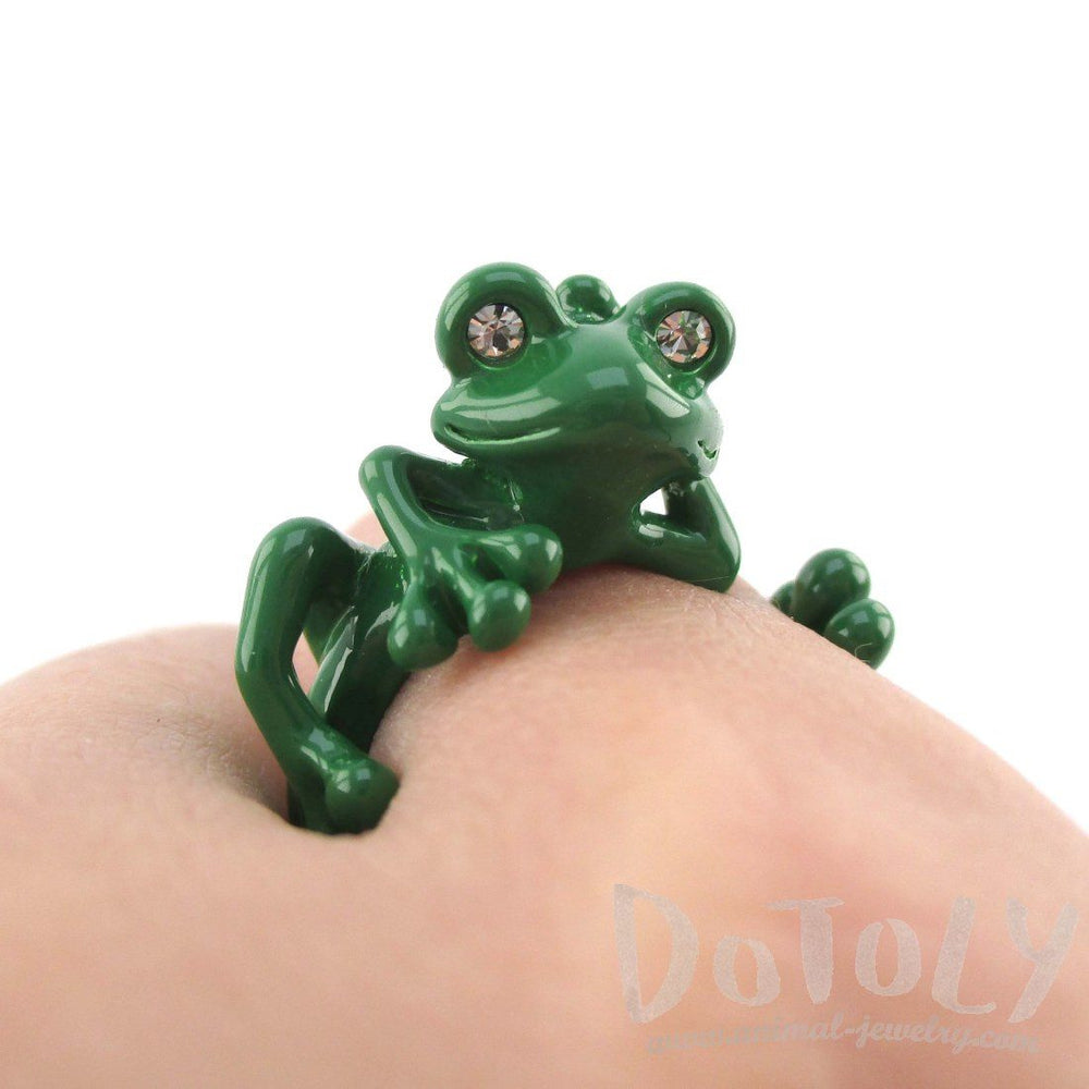 3D Yoga Frog Shaped Animal Wrap Around Ring in Green