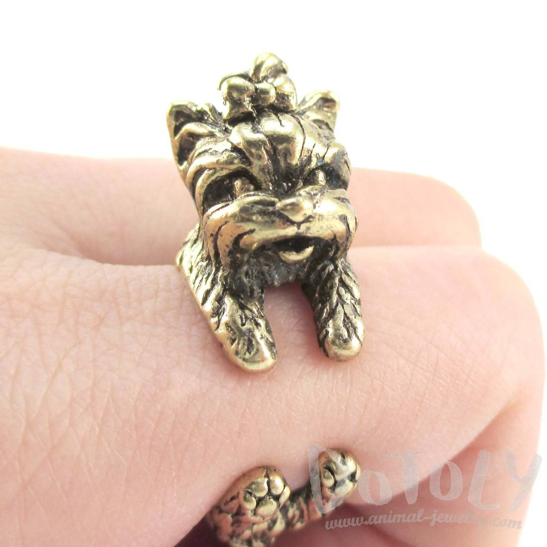Yorkshire Terrier Dog Shaped Animal Wrap Ring in Brass