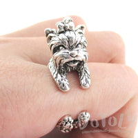 Yorkshire Terrier Dog Shaped Animal Wrap Ring in Silver