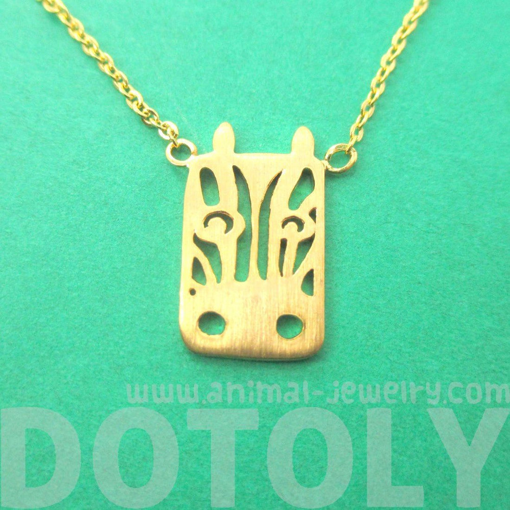 Cute Zebra Face Cut Out Shaped Pendant Necklace in Gold