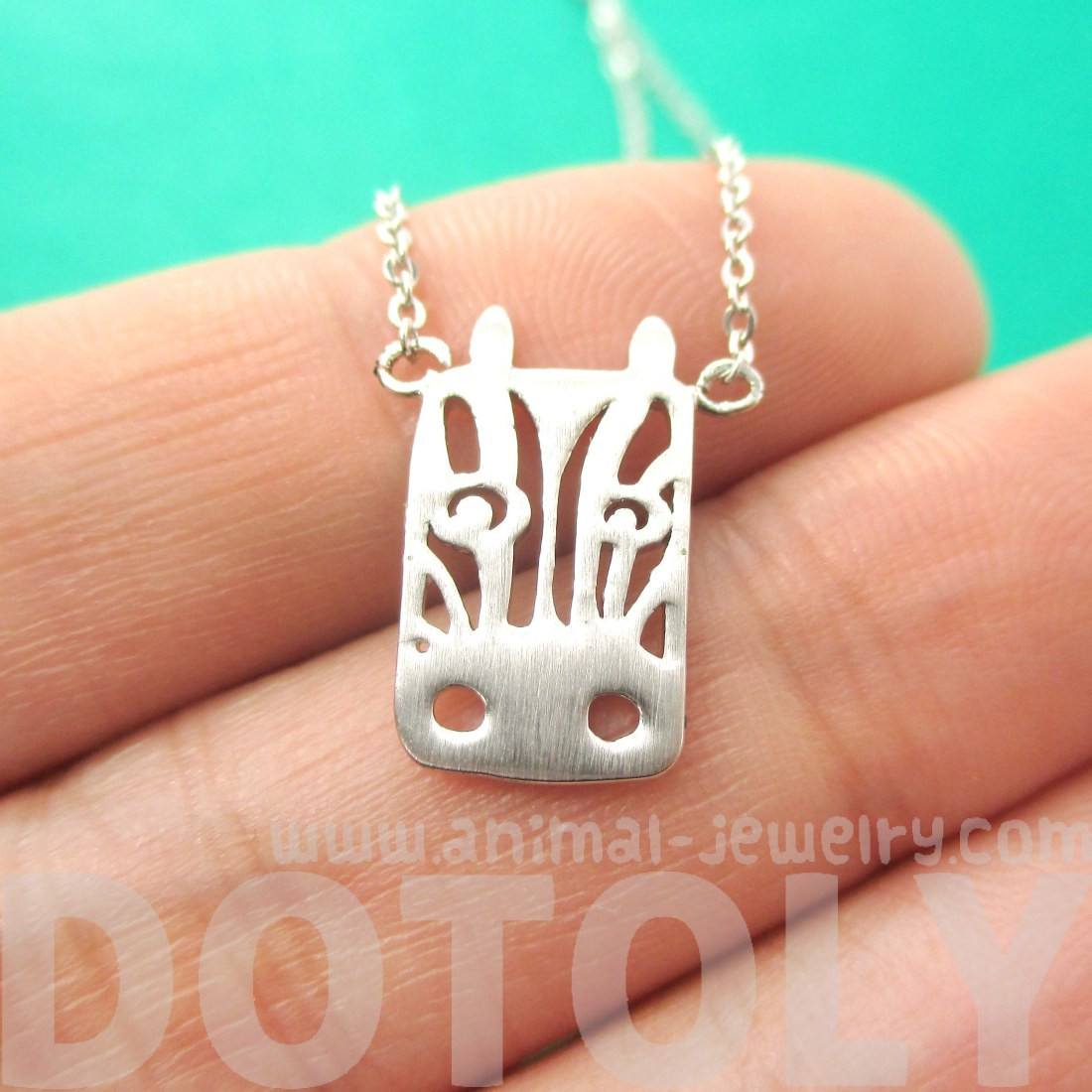 Zebra Face Cut Out Shaped Pendant Necklace in Silver