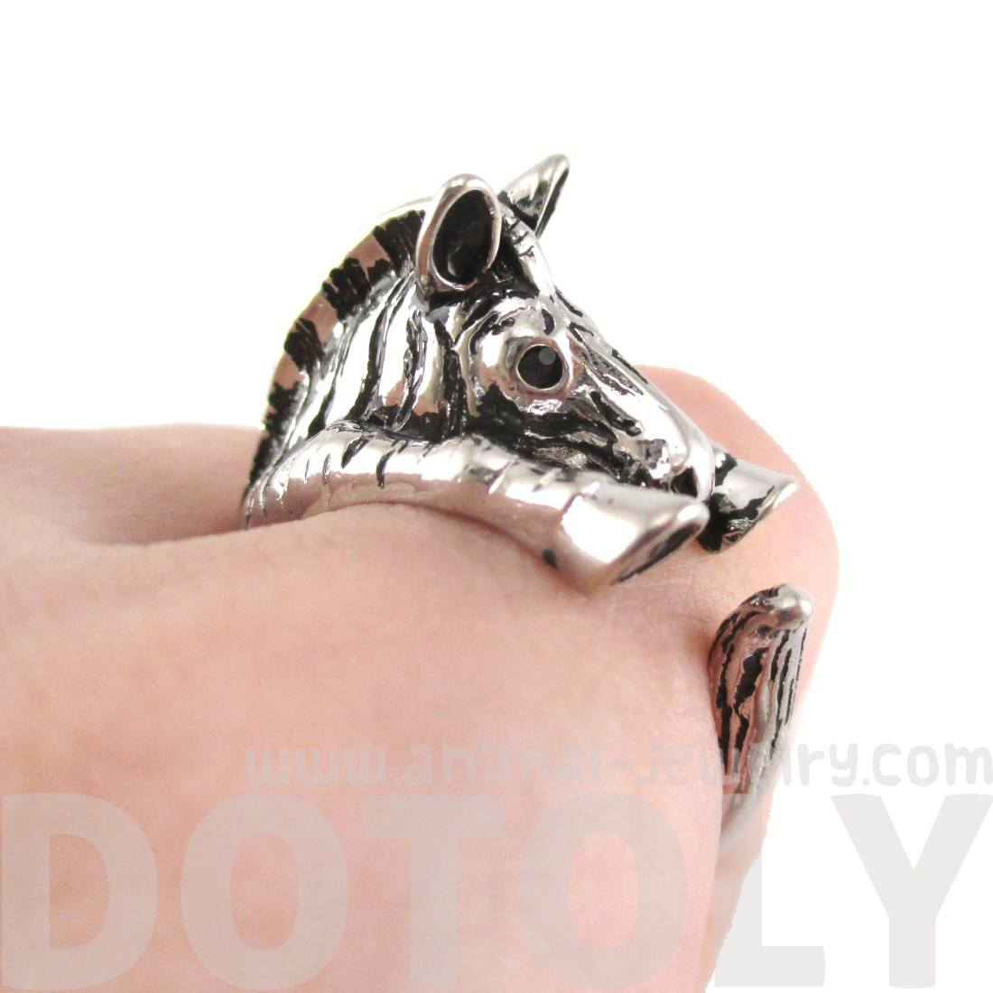 3D Zebra Shaped Animal Wrap Around Ring in Shiny Silver