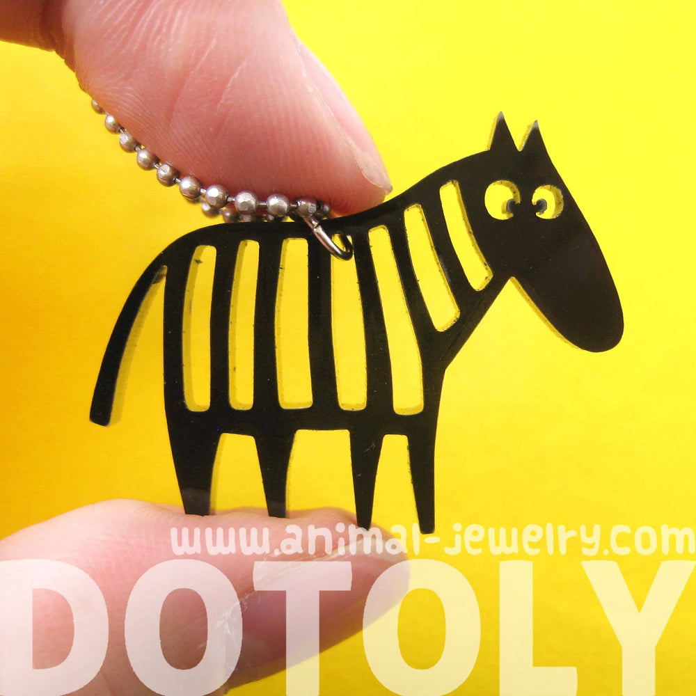 Zebra Silhouette Shaped Pendant Necklace in Black Acrylic | Animal Jewelry | DOTOLY