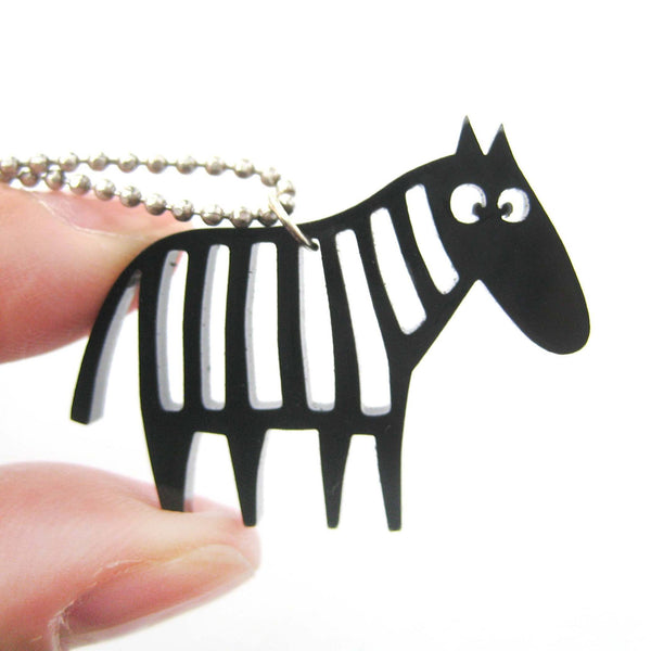 Zebra Silhouette Shaped Pendant Necklace in Black Acrylic | Animal Jewelry