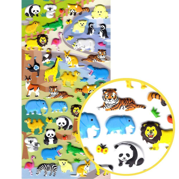 Zoo Animal Themed Elephant Lion Koala Zebra Crocodile Shaped Stickers