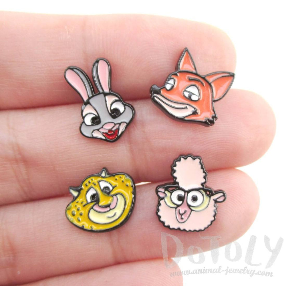 Zootopia Bunny Fox Cheetah Sheep Shaped Stud Earrings | DOTOLY