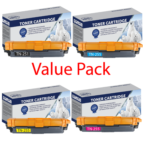 Your Ink Solutions' Compatible Brother TN251/TN255 High Yield Laser Cartridge Value Pack - (1x B, C, M, Y)