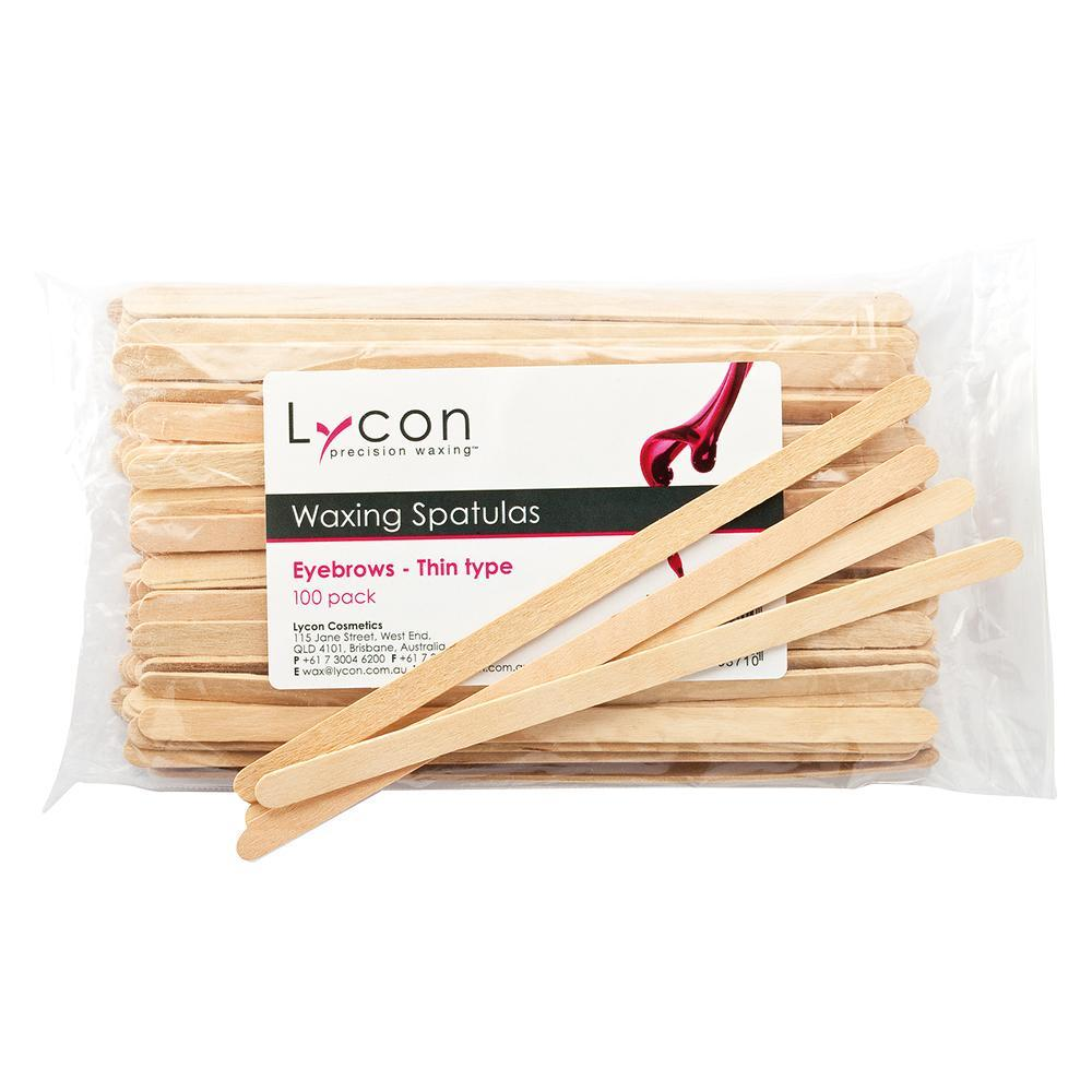 Lycon Disposable Waxing Spatulas - Eyebrows - Thin Type (100 Pack)