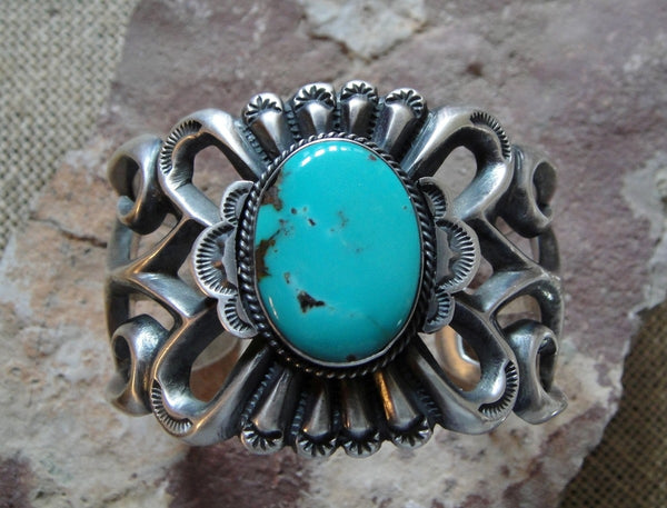 Sand Cast Sterling Silver and Turquoise Bracelet
