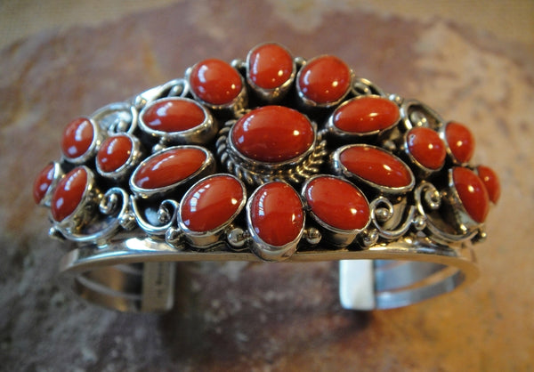 Red Coral Sterling Silver Cuff Bracelet