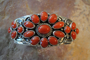 Red Coral Sterling Silver Cuff Bracelet - Front View