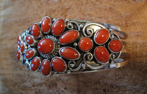 Red Coral Sterling Silver Cuff Bracelet - Side View
