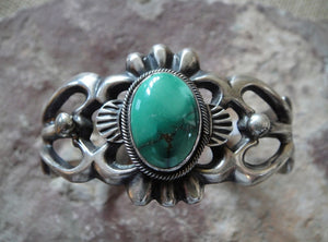 Sand Cast Sterling Silver Turquoise Cuff Bracelet