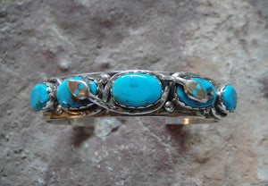 Zuni Sterling Silver Turquoise Cuff Bracelet - Front View