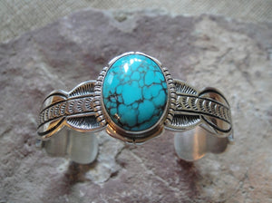 Turquoise and Scalloped Design Sterling Silver Bracelet - Angle View