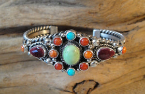 Multi Stone Cuff Bracelet - Side View