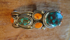 Pilot Mountain Turquoise Sterling Silver Bracelet - Side View
