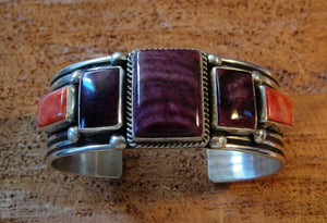 Purple and Orange Spiny Oyster Cuff Bracelet