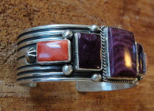 Purple and Orange Spiny Oyster Cuff Bracelet - Side View