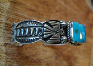Valley Blue Turquoise Sterling Silver Bracelet - Side View